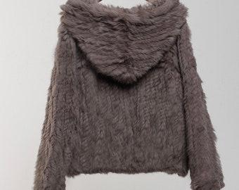 Comfortable Real Fur Sweater, Fur Hoodie, Real Fur Top, Rabbit Fur Top, Rabbit Fur Coat.
