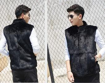 Mens Real Fur Vest, Rabbit Fur Vest, Mens Fur Coat, Mens Fur Jacket.