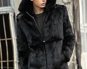 Mens Real Fur Coat with Hood and Zipper, Mens Fur Jacket, Real Fur
