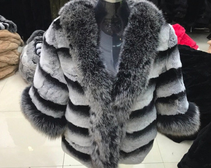 Rex Rabbit Fur Coat, Fox Fur Collar, Real Fur Jacket, Chinchilla Color.