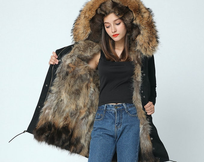 Waterproof Parka with Raccoon Fur Hood and Fox Fur lining, Fur Coat, Fur Jacket.