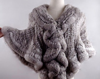 Knitted Rabbit Fur Cape, Real Fur.
