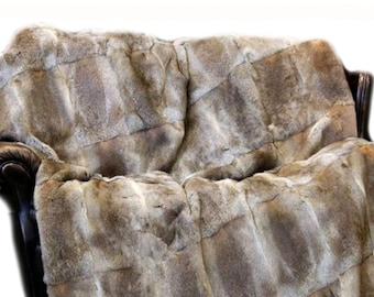 Rabbit Fur Throw Blanket.