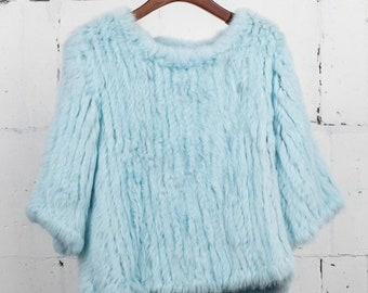 Real Fur Pullover, Rabbit Fur Top, Rabbit Fur Sweater, Rabbit Fur Jumper.