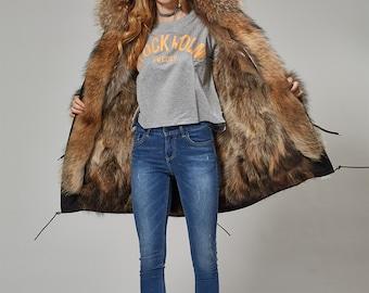 Warm Raccoon Fur and Rabbit Fur Jacket
