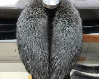 Genuine Silver Fox Fur Collar