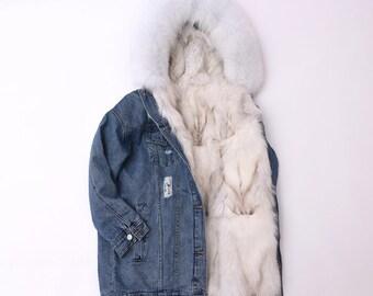 Denim Jacket with Fox Fur Lining/Fox Fur Coat/Real Fux Fur Jacket