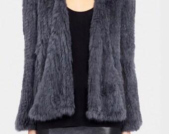 Genuine Rabbit Fur Jacket, Fur Coat, Rabbit Fur Coat, Warm Jacket, Winter Jacket.