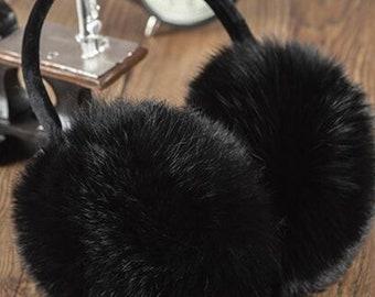Fur Ear Muffs, Rabbit Fur Hat, Rabbit Fur Ear Muffs.