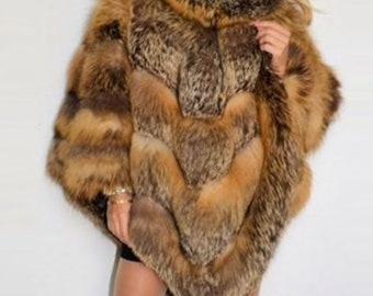 Luxurious Fox Fur Poncho, Fox Fur Coat, Fox Fur Cape