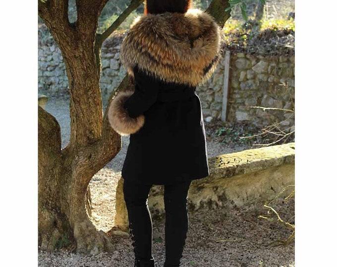 Cashmere Wool with Raccoon Fur Hood, Real Fur Coat