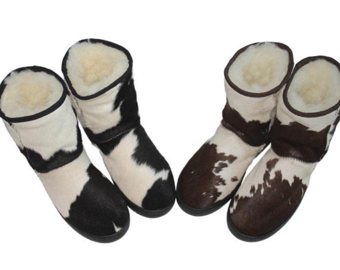 Cowhide Ugg Boots, Cowhide Footwear, Cowhide Slippers.
