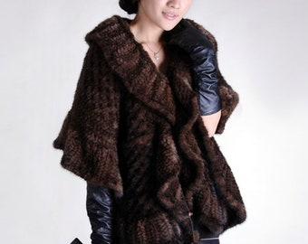 Mink Fur Poncho/Cape, Knitted Fur Poncho