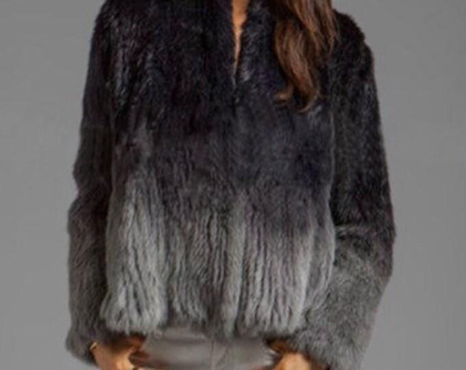 Ombre Rabbit Fur Jacket, Ombre Fur Coat.