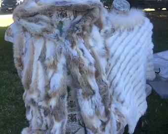 Real Rabbit Fur Vest with Hood, Real Fur Vest.