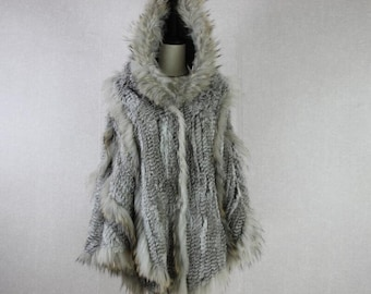 Rabbit and Raccoon Fur Poncho with Hood - Fur Cape - Real Fur