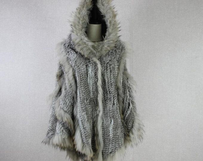 Rabbit and Raccoon Fur Poncho with Hood - Fur Cape - Real Fur