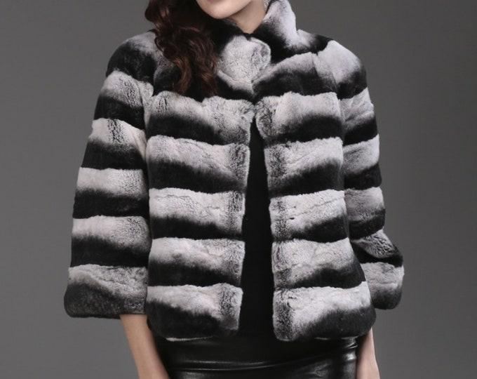Rex Rabbit Fur Coat, Real Fur Jacket, Chinchilla Color.