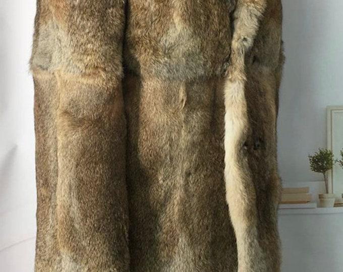 100cm Long, Mens Real Rabbit Fur Jacket, Real Fur Coat.