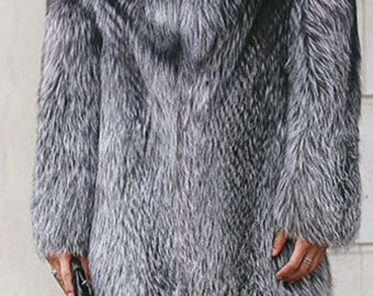 Mens Silver Fox Fur Coat