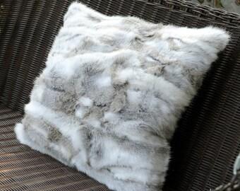 Rabbit Fur Patchwork Pillows
