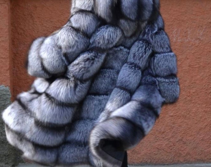 Silver Fox Fur Coat, Fur Jacket, Real Fur Jacket.