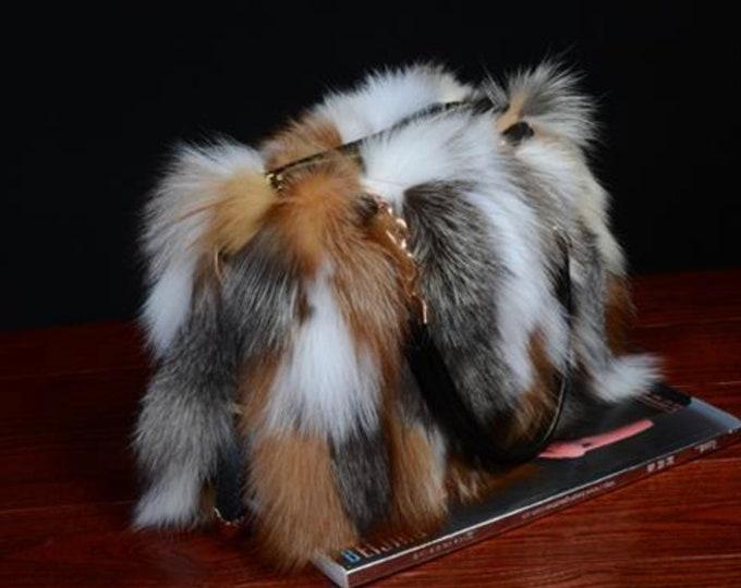 Real Fox Fur Bag, Real fur Bag.
