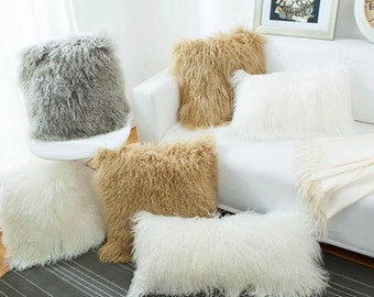 Mongolian Lamb Wool Cushion Covers