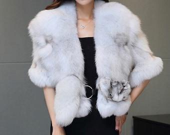 Fox Fur Wedding Shawl, Genuine Fur Warp, Real Fur Cape.