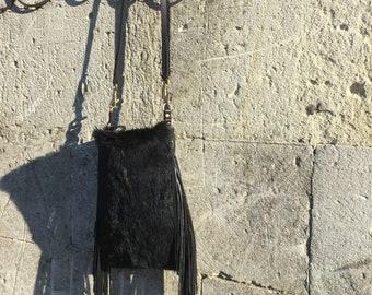 Rabbit Skin Leather Fringe Bag