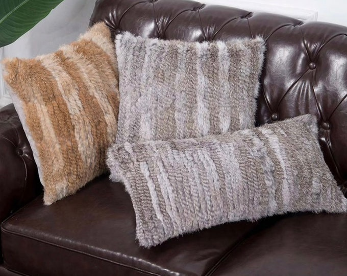 Knitted Rabbit Fur Pillowcase.