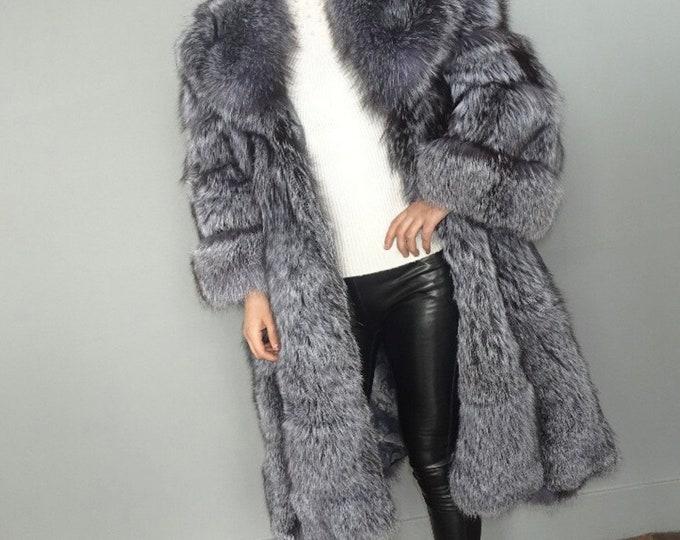 Silver Fox Fur Jacket,Fox Fur Coat, Real Fur Jacket.