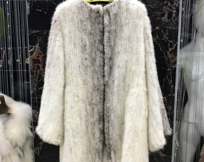 Knitted Mink Fur Jacket, Real Fur.
