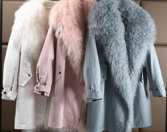 Mongolian Wool and Rabbit Fur Parka, Real Fur Coat.
