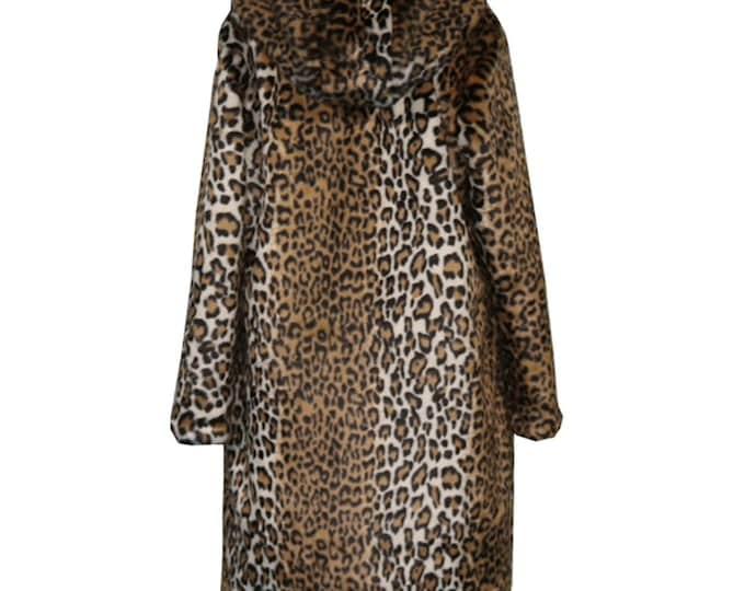 Leopard  Faux Fur Coat, Fur Jacket, Fur Coat, Long Fur Coat.