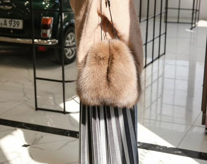 Fox Fur Bag, Real fur Bag.