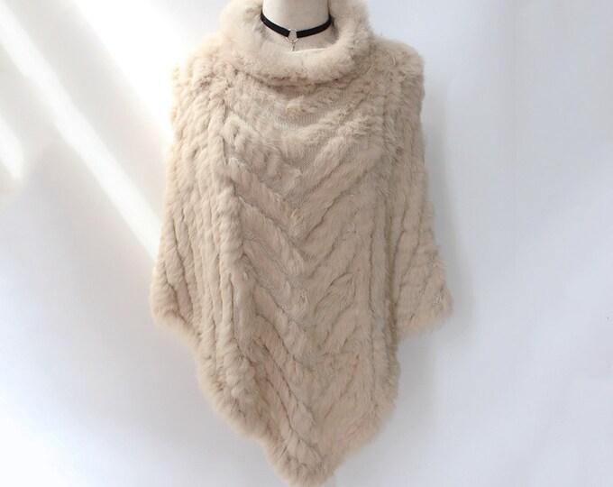 Rabbit Fur Cape/Poncho, Real Fur Coat, Rabbit Fur Jacket.
