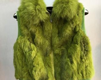 Rabbit Fur Vest with Fox Fur Collar, Real Fur, Fur Coat.