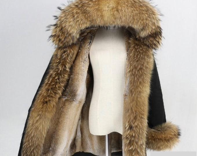Fur Coat with Raccoon Fur Hood, Cuffs and Rabbit Fur lining, Fur Coat, Fur Jacket.