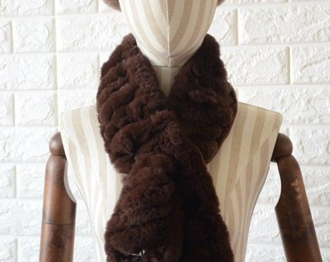 Genuine Rabbit Fur Scarf, Real Fur Scarf, Fur Scarf, Winter Scarf.