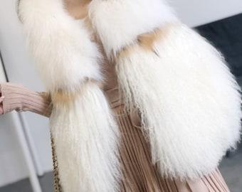 Mongolian Lamb and Fox Fur Vest