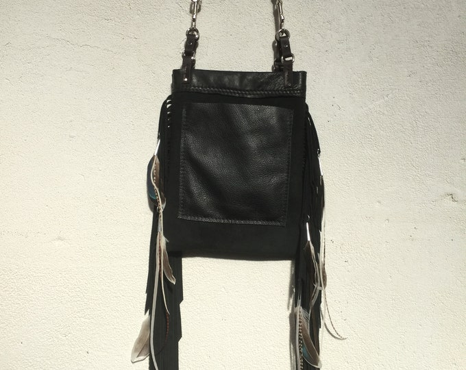 Feather & Suede Fringe Bag
