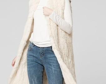 Long Fur Vest, Long Fur Jacket, Rabbit Fur Vest.