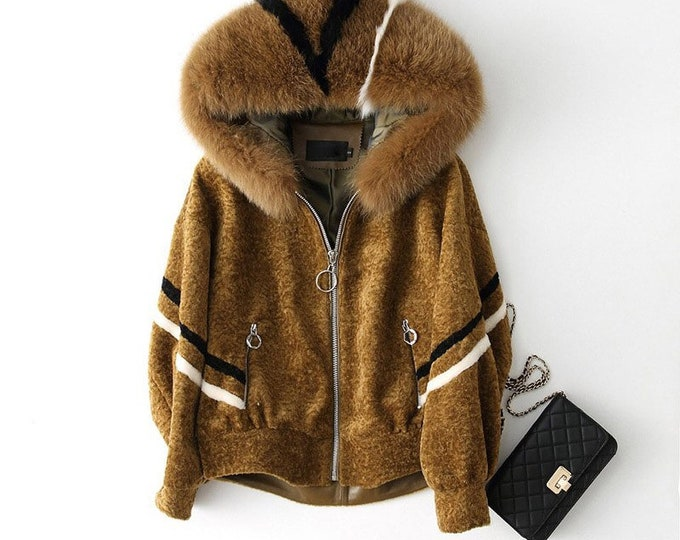 Wool & Fox Fur Coat, Real Fur Jacket