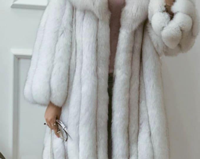Fox Fur Jacket, Blue Fox Fur Coat, Real Fur Coat.