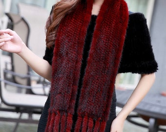 Knitted Mink Scarf