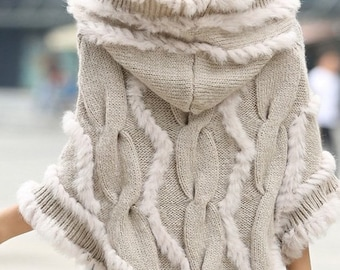 Knitted Poncho with Rabbit Fur.