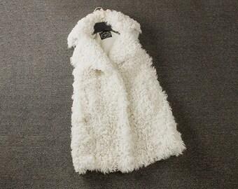 Mongolian Wool Sleevless Jacket, Wool Vest, Lamb Wool Vest.