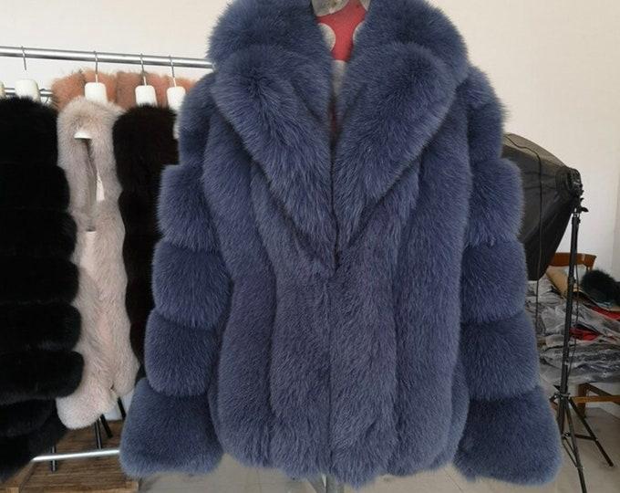 Fox Fur Jacket with Collar, Real Fur, Fur Coat.