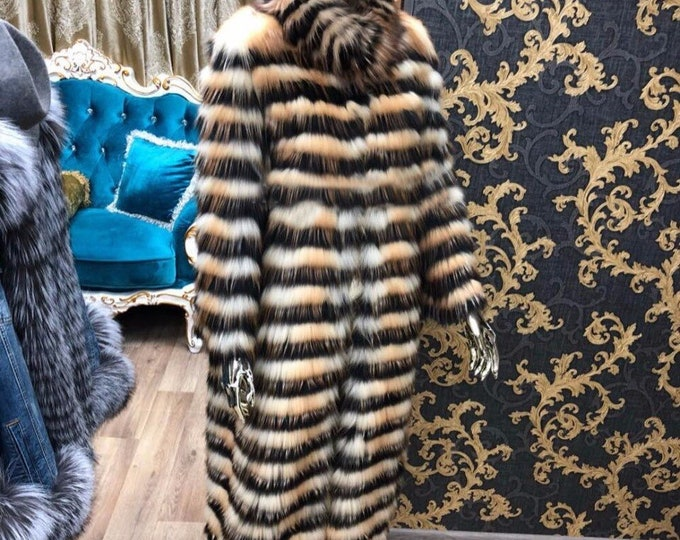 Fox Fur Jacket, Real Fur Coat, Red Fox Fur.